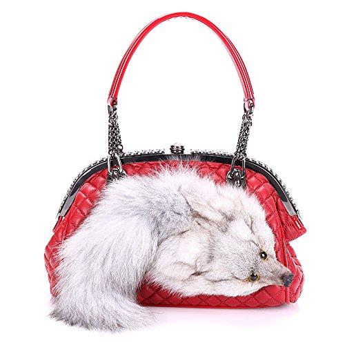 cuir épaule Red en Tote Crossbody Simulation sac tête femmes pour clip les diamant fox pack sacs paquet Véritable Satchel à cheveux main wHxqaBII1
