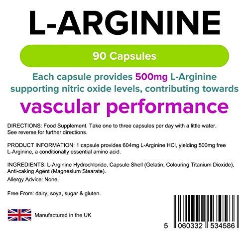 Lindens L-Arginina 500 mg en cápsulas | 90 Paquete | Un suplemento de aminoácidos en una cápsula de liberación rápida y fácil de tragar: Amazon.es: Salud y ...