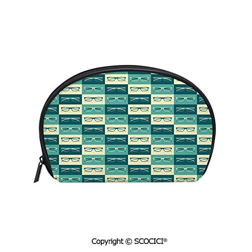 SCOCICI Polyester Printed Cosmetic Bag Storage Bag Pattern with Eyeglasses in Vintage Style Hipster Cool Collection Decorative Makeup Bag Toiletry Pouch