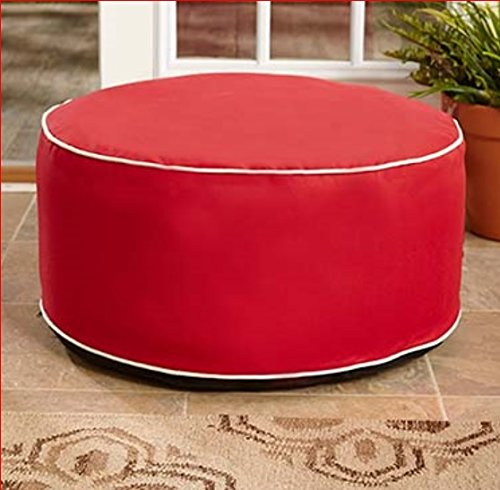 INFLATABLE RED OTTOMAN POUF INDOOR OUTDOOR GARDEN PATIO