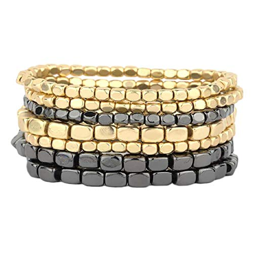 Rosemarie Collections Women's Two Tone Color Stacking Statement Stretch Bracelet Set of 7 (Two Toned-Hematite/Gold)