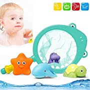 Moguer Best Bath Toy for Kids, Babies and Toddlers - Fishing Net Floating Animals Water Toy - Kids Bath Time Play Set, Shark Fishing