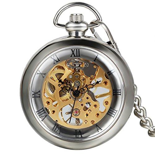 (Avaner Men's Unisex Vintage Transparent Steampunk Open Face Hand Wind Mechanical Skeleton Pocket Watch for Men Women, 15 inch)