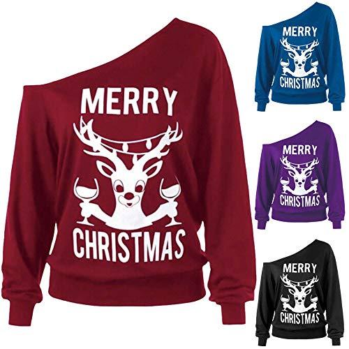 Sanfashion Vin Blouse Shirt Le Ronde Tops Imprimé Noël Noel Col Épaule Du Père Wapiti Mode Manteau Dénudé Femme De Sweat Arbre r6ZrR