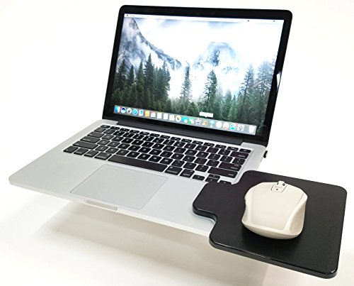 Mouse Ledge - Black - Platform Laptop Chromebook Computer Extension - Slick Surface W/Edge Guard - Attaches Directly to Either Side of Laptop Creating A Portable Workstation (Black or Gray) USA ()