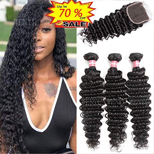 WENYU Brazilian Virgin Deep Wave Human Hair Weave 3 Bundles with 4 x 4 Lace Closure with Bundles Deep Wave Hair Extensions Natural Black (Deep Wave 14 16 18 W 12 Closure)