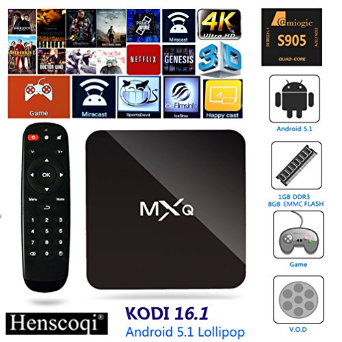 Henscoqi MXQ PRO 4K Android TV Box Amlogic S905 Android 5.1 Lollipop Streaming Media Player 1G+8G Memory 1000M