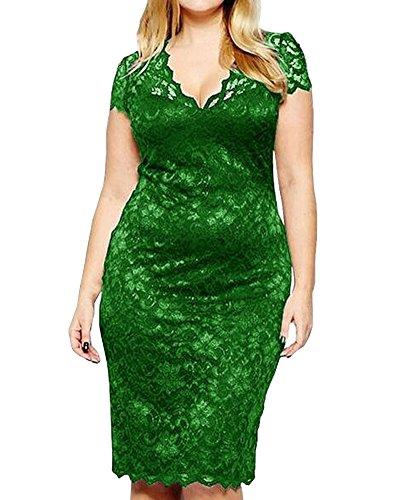 ZhuiKun Vestido de Mujer Vintage Flores Encaje Talla Grande Manga Corta V-Cuello Vestido de Fiesta Verde