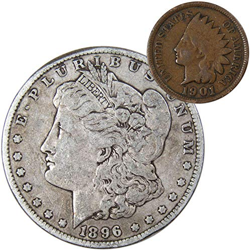 1896 Morgan Silver Dollar F-Fine with 1901 Indian Head Cent Good