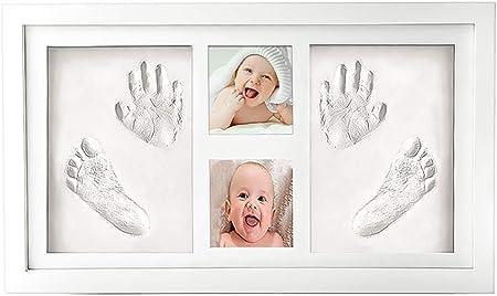 McNory bebé Handprint y Marco de huella Inkpad de fotos Regalos BabyParty seguros y elegantes Elegante blanco de madera sólida,marco huellas bebe,huellas bebe tinta Regalos para Bebé Recién Nacido
