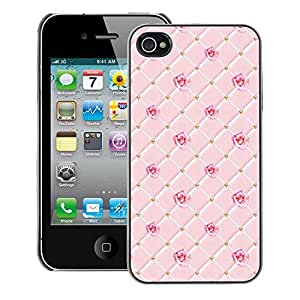 Supergiant (Pink Checkered Chocolate Rose Pattern) Impreso colorido protector duro espalda Funda piel de Shell para iPhone 4 / 4S