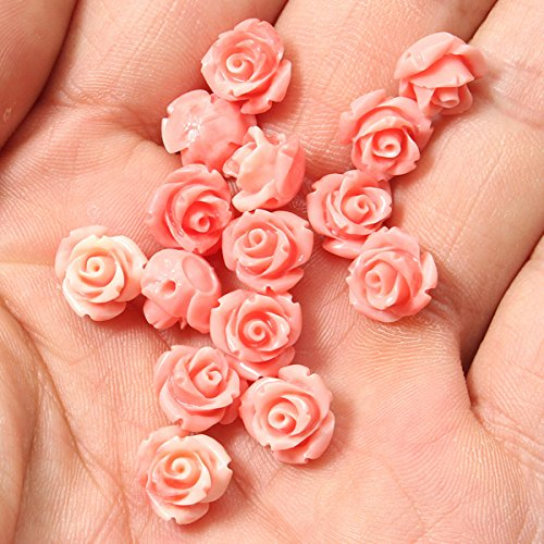 15Pcs 10mm Pink Shell Carved Round Lotus Flower Loose Beads Gemstone Jewelry - Beads Carved Gemstone Flower