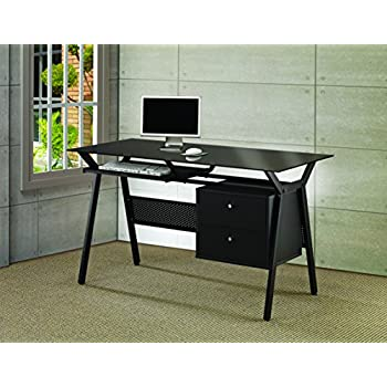 Amazon Com Coaster Computer Desk Black Kitchen Amp Dining