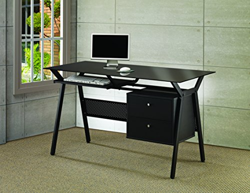 Computer Desk with Two Storage Drawers Black