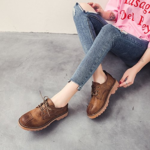 par con Zapatos Ayudar de Mujer un con de con EUR35 Informales Bajos para Redondos Planos de Zapatos Los Zapatos a marrón Zapatos Mujer Calzados dvX6wrqxX