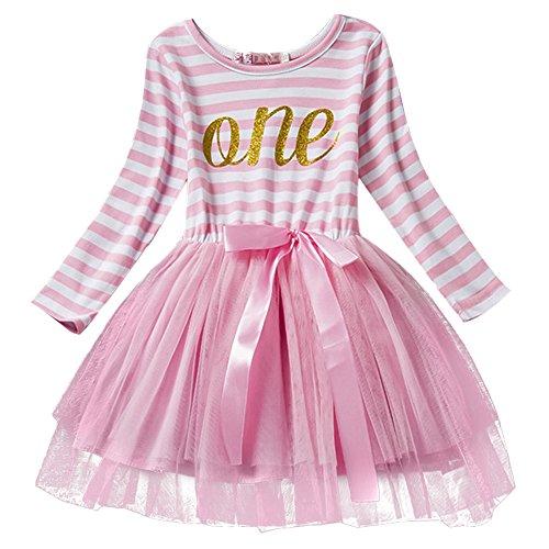 Newborn Baby Girl Princess Long Sleeve Shinny Stripe Crown Printed 1st/2nd/3rd Birthday Cake Smash Tulle Tutu Skirt (Baby's First Birthday Outfit Girl)