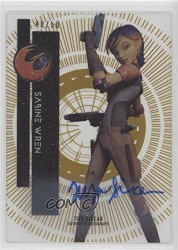 Tiya Sircar; Sabine Wren #/50 (Trading Card) 2015 Topps Star Wars High Tek - Signers - Gold Rainbow #100 by Topps