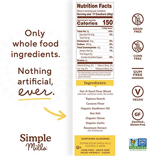 Simple Mills Almond Flour Crackers, Fine Ground Sea Salt, Gluten Free, Flax Seed, Sunflower Seeds, Corn Free, Good for Snacks, Made with whole foods, 6 Count (Packaging May Vary) 6