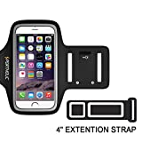 Sportholic® Water Resistant Sports Armband Plus Extention Strap -LIFETIME WARRANTY- With Key Holder,Cable Locker,Cards Holder For iPhone 6/6S/5/5C/5S,Galaxy S6/S5/S4 Up To 5.1 Inches(Black+)