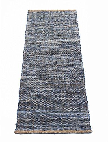 Chardin home Denim Jute Runner Rug. Size: 24