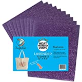 """(10) 12"""" x 9.8"""" Sheets Craftables Lavender Glitter Heat Transfer Vinyl, HTV - Sparkling Easy to Weed Tshirt Iron on Vinyl for Silhouette Cameo, Cricut, All Craft Cutters. Ships Flat, Guaranteed Size"""