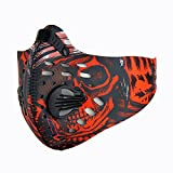 BS Dustproof Mask - Activated Carbon Dust Masks - with Extra Filter Cotton Sheet and Valves for Exhaust Gas, Anti Pollen Allergy, PM2.5, Running, Cycling, Outdoor Activities (Red)