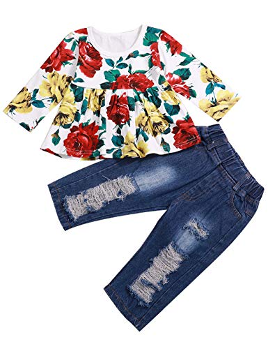Toddler Girls Clothes 2PCS Ruffle Outfits Long Sleeve Floral Shirt Tops with Ripped Jeans Denim for Girls Pants Sets (1-2T)