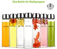 UBAYEE Botella de Agua Cristal, 550ml Sin BPA Botella de Vidrio Borosilicato con Funda de Neopreno, Colador y Tapa a Prueba de Fugas para Hombre y ...
