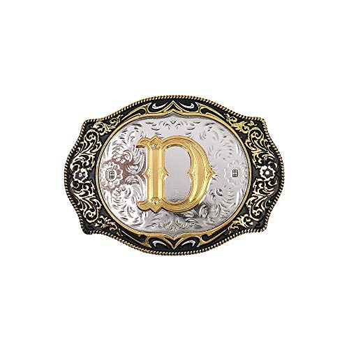 - Western Belt Buckle Initial Letters ABCDMRJ to Z Cowboy Rodeo Gold Belt Buckles for Men Women