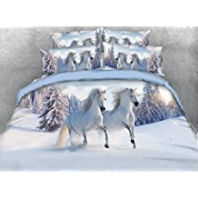 White Duvet Cover Sets Queen Size,4 Piece Luxury Galloping Horse Print Bedding,1 Bed Sheet,1 Quilt/Comforter Cover Queen and 2 Pillow Shams,Soft 3D Bedding Sets King/Full/Twin