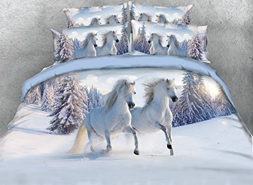 Twin Size Duvet Cover Sets White,Luxury Galloping Horse Print Bedding,1 Bed Sheet,1 Quilt/Comforter Cover Twin and 2 Pillow Shams,4 Piece Soft 3D Bedding Sets (Horse Comforter)