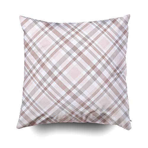 otton Square Pillow Case Covers with Zippered Closing for Home Sofa Decor Size 18X18 inch Costom Pillowcse Throw Cover Cushion Plaid Check All Over Fabric Print in Shades ()