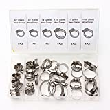 Lucksender 34pcs Assorted Stainless Steel Hose Clamp With Driver Clip Style Set