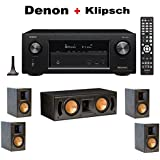 Denon AVR-X2400H 7.2 Channel Full 4K Ultra HD AV Receiver with Wi-Fi, Dolby Atmos, DTS:X, and HEOS + 2 Pairs of Klipsch RB-51 II Reference Bookshelf + Klipsch RC-42 II Center Speaker Bundle