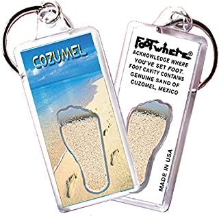 "product image for Cozumel ""FootWhere"" Key Chain (CZ105 - Stroll).Authentic Destination Souvenir acknowledging Where You've Set Foot. Genuine Soil of Featured Location encased Inside Foot Cavity. Made in USA."