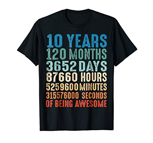 10 Years Old 10th Birthday Vintage Retro T Shirt 120 Months ()