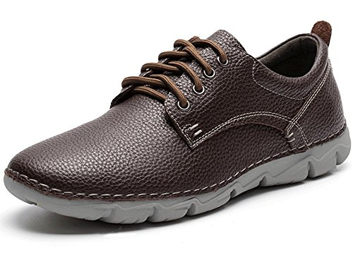 Yahao Men's Casual Leather Shoes,Oxfords Classic Modern Dress Lace up Shoe,Walking Sneaker(Dark Brown,Size (Italian Mens Leather Shoes)