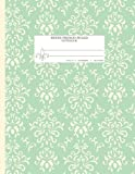 Seyes French Ruled Notebook: Graph Paper Grid Book For Calligraphy And Writing Practice - Large 8.5'x11' - 120 Pages - Pretty Damask Green