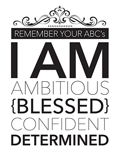 I AM (12 x 36 inches) Large Motivational/Inspirational Wall Art Poster – Black and White Typographic Ready-to-Frame Wall Decor For The Home, Office, Classroom, Door Room + BONUS 2 Bookmarks