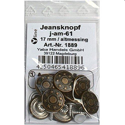 8 Jeans Knöpfe altmessing 17 mm, Jeansknöpfe Metallknöpfe Metall Knopf, j-am-61