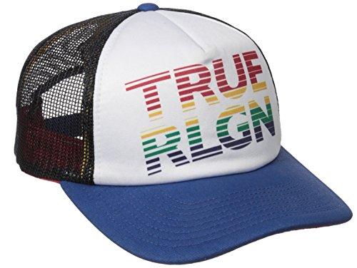True Religion Men's Rainbow Trucker Ball Cap, French Blue, One Size