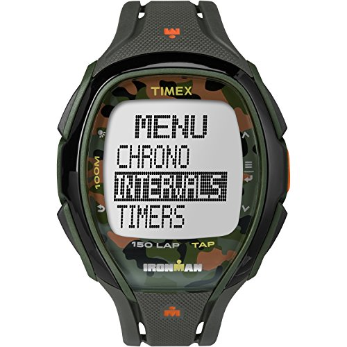 Timex Unisex TW5M01000 Ironman Sleek 150 Tapscreen Green/Orange Camo Full-Size Resin Strap Watch