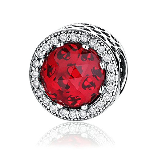 The Kiss Radiant Hearts with Red Crystal and Clear CZ 925 Sterling Silver Bead Fits European Charm Bracelet