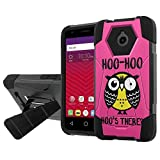 Alcatel [Dawn] [Acquire] Defender Hybrid Case [SlickCandy] [Black/Black] Armor Shell & Impact Resistant [Kick Stand] [Shock Proof] - [Hoo is There Owl] for Alcatel [Dawn] [Acquire]