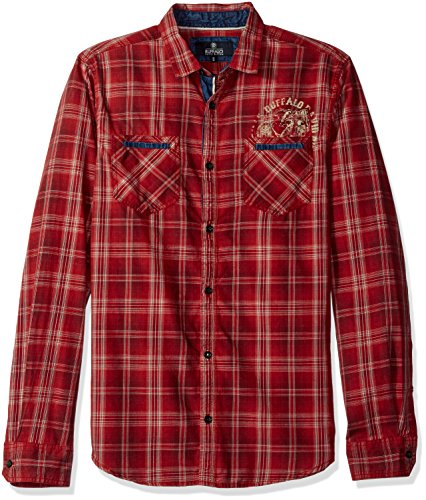 Buffalo David Bitton Men's Satako Long Sleeve Plaid Woven Shirt, Maroon, Large