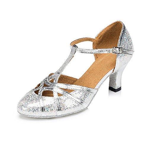 De Fondo Zapatos De Social Lado Baile De Baile La Baile Plata Mediados De Latino Mujeres Zapatos Salón Blando Zapatos WYMNAME Brillante Tacones tzwqUaSS