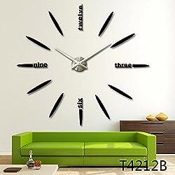 3D DIY Wall Clock, Timelike Modern Frameless Large 3D DIY Wall Clock Kit Decoration Home for Living Room Bedroom (Black)