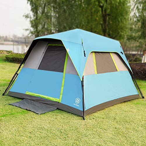 EVER ADVANCED Instant Cabin Tent 6 Person with Rainfly, 60s Easy Setup, Portable Waterproof Tents for Family Camping, Advanced Vent Design, Electrical Cord Access Port and Door Mat,Blue