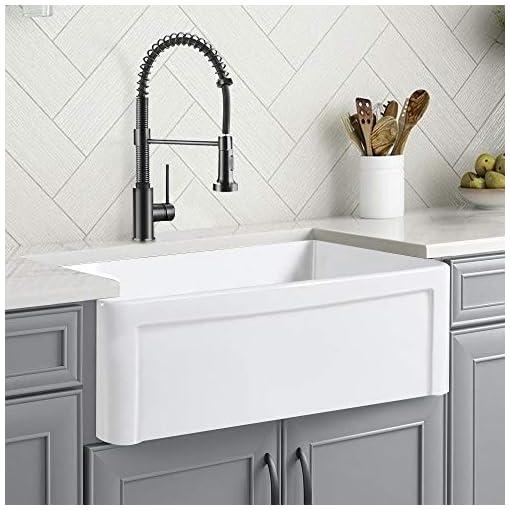 Farmhouse Kitchen CELAENO 30 inch White Farmhouse Sink, Fireclay Porcelain Single Bowl Apron-Front Kitchen Sink, Reversible Ceramic Farm… farmhouse kitchen sinks