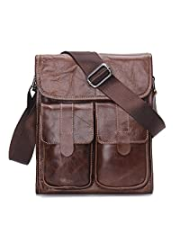 "Contacts Genuine Leather 11"" Men Messenger bag Cross body Satchel Pad Tab Single Shoulder Bag"